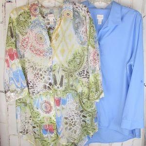Chicos Shirt No Iron Blouse Paisley Tunic 3 16